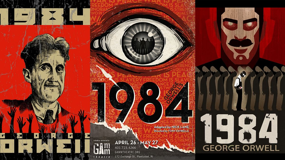 A series of covers of the throught-provoking novel– 1984 by George Orwell
