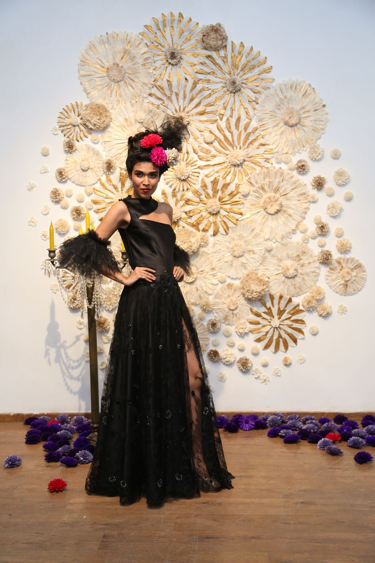 A model in a Neeva Debnath creation at the 'Neo-Colonial' show in Kolkata.