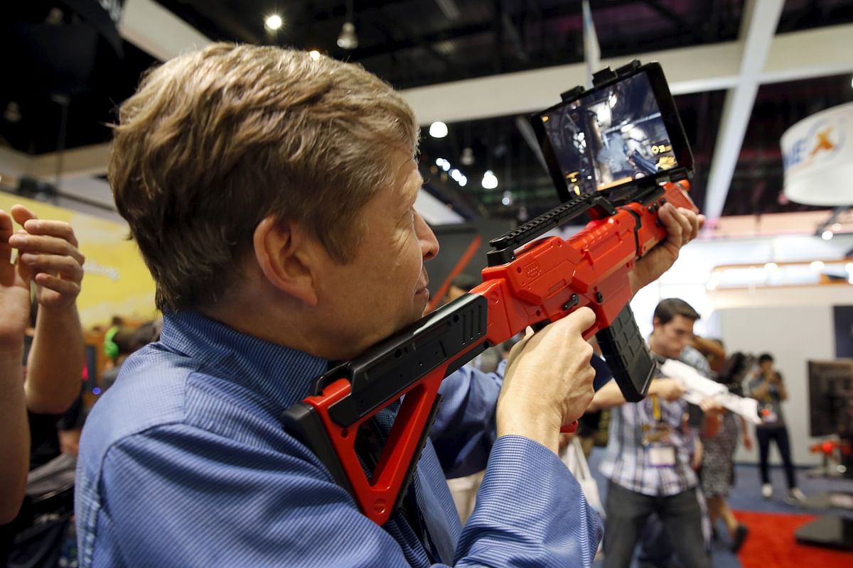 First person shooting games will never be the same, A man plays ona PP Gun. (Photo: Reuters)