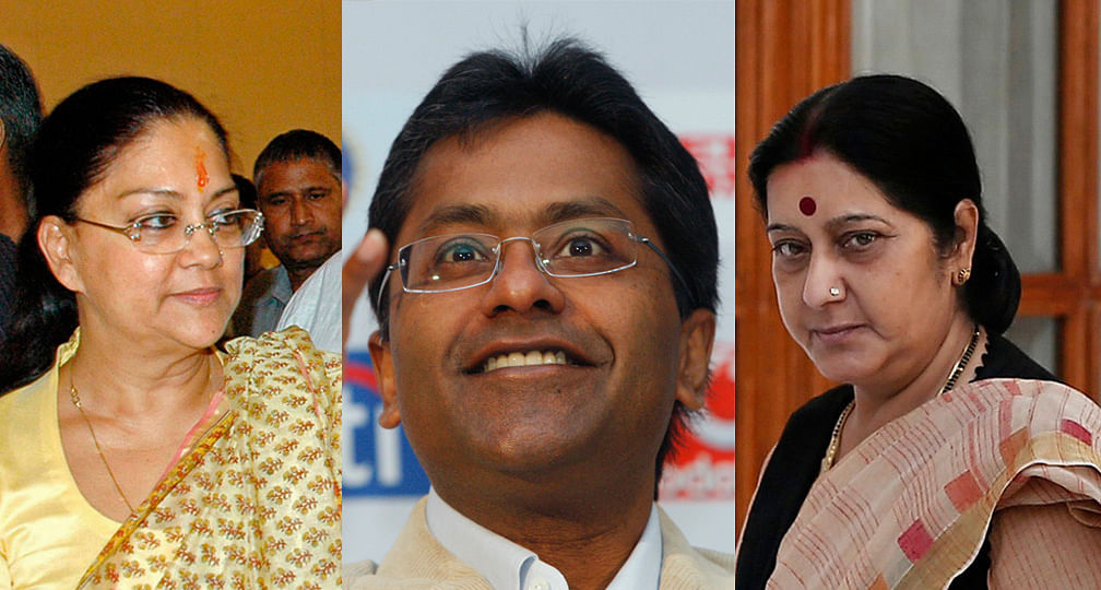 Rajasthan CM Vasundhara Raje (left), Lalit Modi (center), EAM Sushma swaraj (right). (Photo: Reuters)