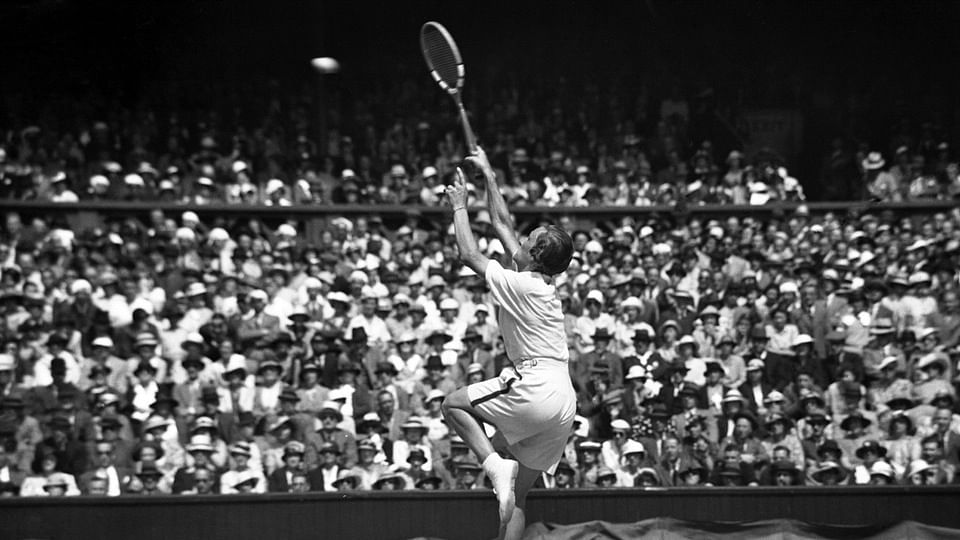 Helen Wills Moody, on July 6, 1935, hits a shot in the All England Lawn Tennis Championships final.  (Photo: AP)