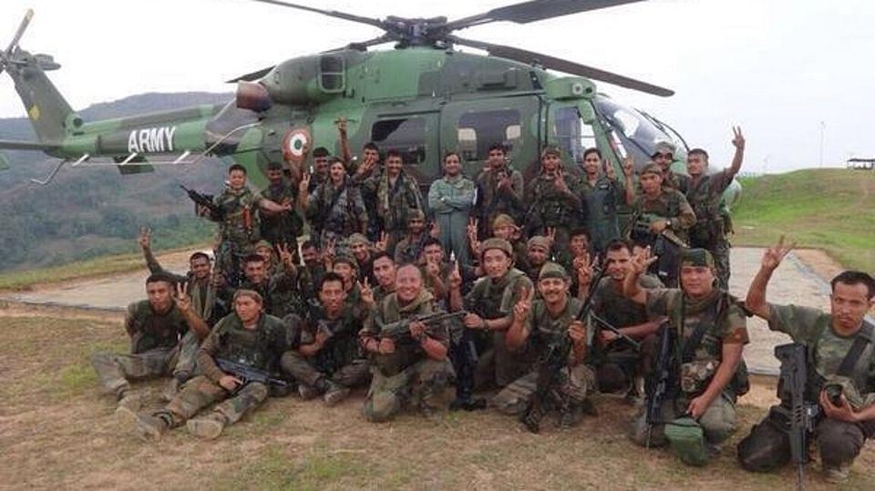 Army troops were flown in byhelicopters near the Myanmar border. (Photo: Anjana Dutta)