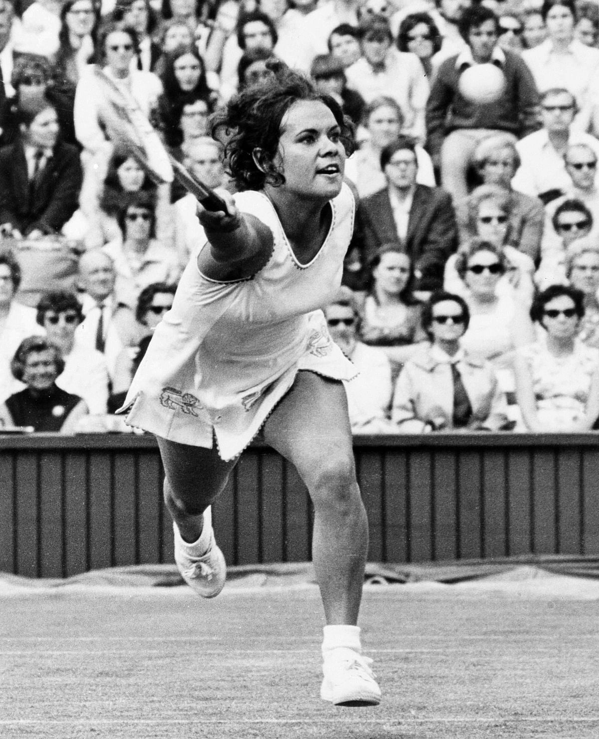In this 1971 photo, Australia's Evonne Goolagong shown in action during the All-England Tennis Championships at Wimbledon, England. Just weeks after her victory in the 1971 French Open, Goolagong became the first indigenous Australian to win Wimbledon when she defeated Margaret Court. (Photo: AP)<a></a>