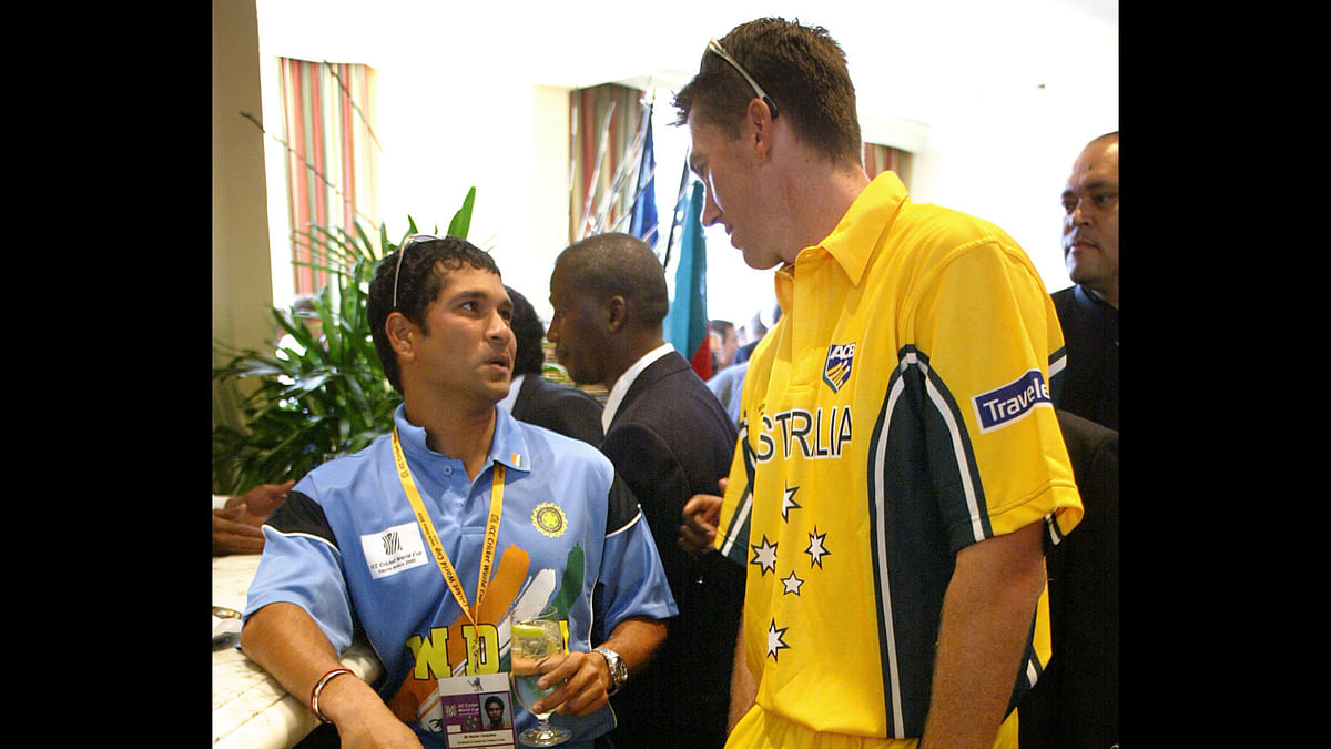 Sachin Tendulkar and Grenn McGrath on the sidelines of the 2003 cricket World Cup. (Photo: Reuters)