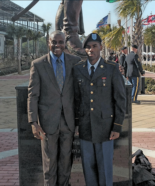 """Carl Lewis with his son who joined the armed forces in the United States. (Photo Courtesy: Twitter.com/<a href=""""https://twitter.com/Carl_Lewis"""">@Carl_Lewis</a>)"""