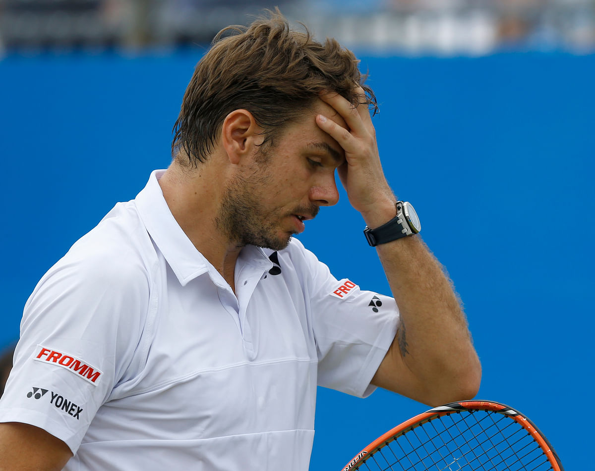 Stanislas Wawrinka reacts after missing a point in the second round match. (Photo: AP)