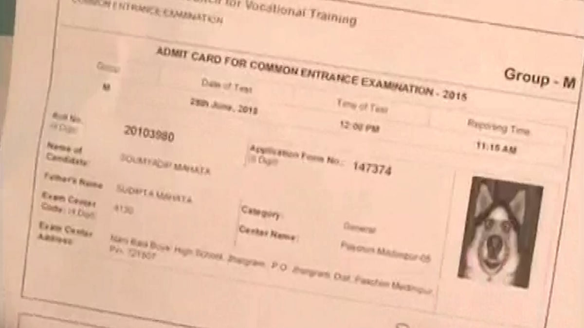 A dog's photo has appeared on the admit card of an ITI aspirant from West Bengal. (Courtesy: ANI screengrab)