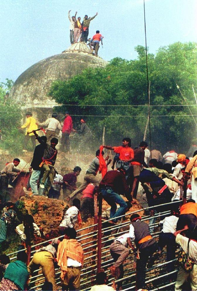 File image of Babri masjid demolition in December 1992.