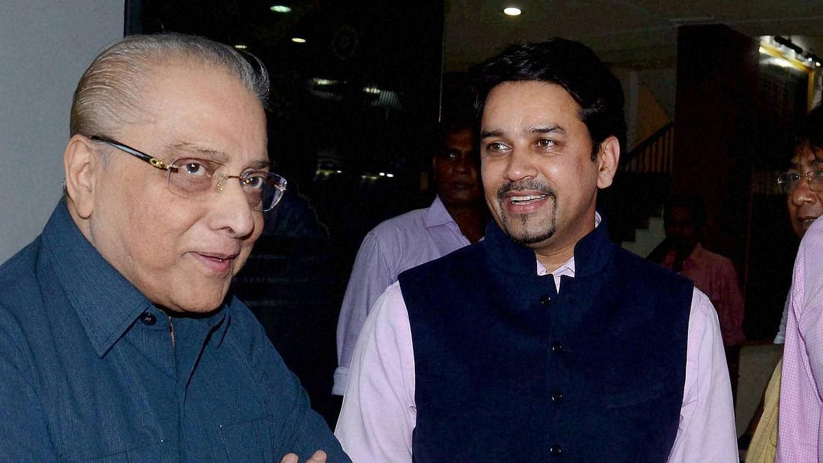 BCCI Secretary Anurag Thakur(R) with President Jagmohan Dalmiya in Kolkata in May. (Photo: PTI)