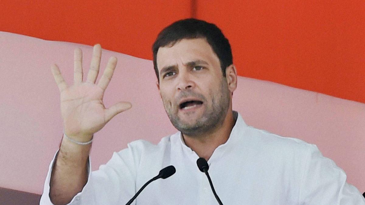 Congress Vice President Rahul Gandhi addressing a rally.