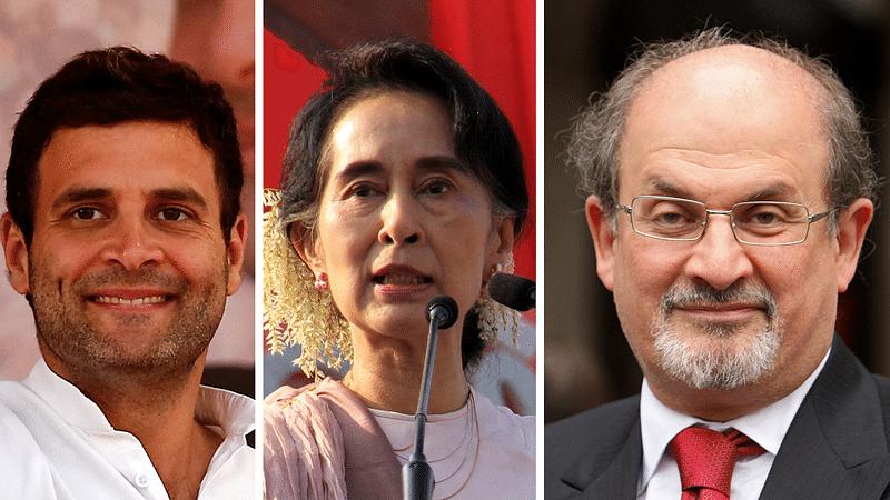 Living by the principles of Albert Camus' D'Arrast: Rahul Gandhi (left), Aung Suu Kyi (centre) and Salman Rushdie