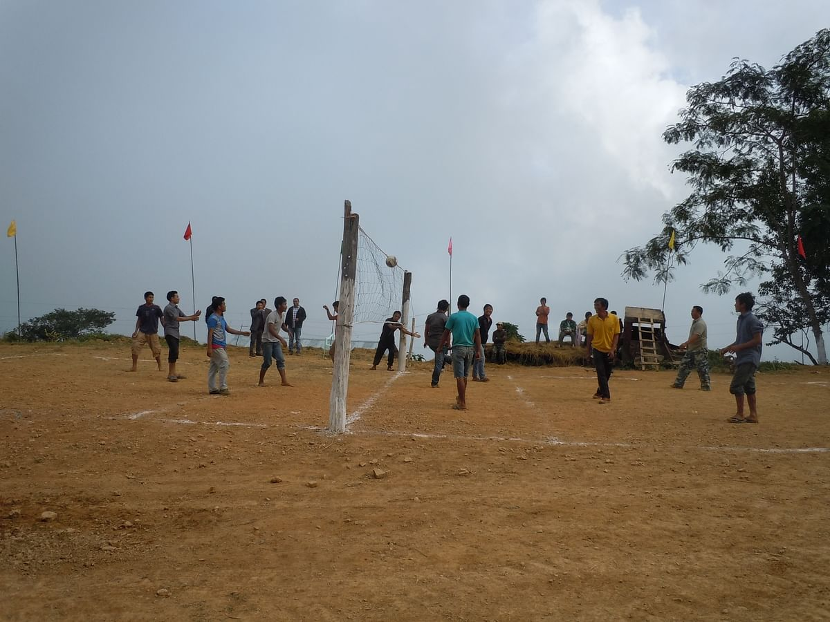Boys playing volleyball in Paraolon.(Photo: Maitreyee Handique)