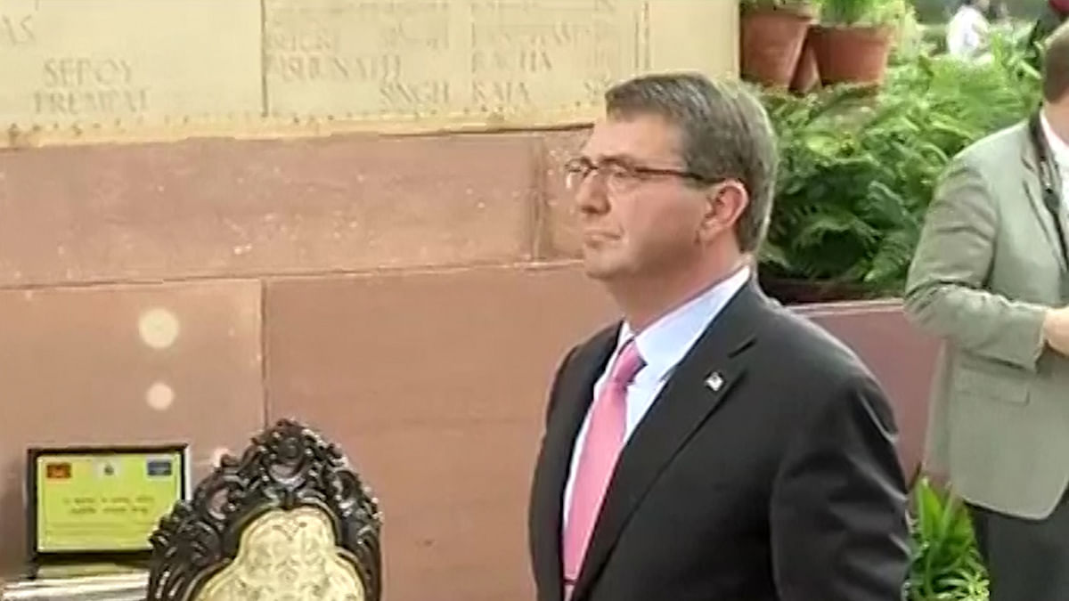 US Secretary of Defence Ashton Carter at India Gate during his previous visit. (Photo: ANI screengrab)