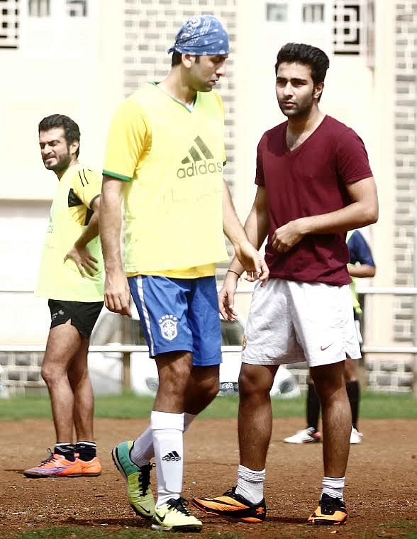 Ranbir Kapoor and cousin Armaan Jain on the field (Photo: Yogen Shah)