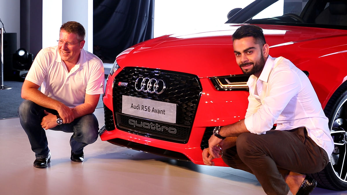 Joe King and Virat Kohli at the launch of Audi's RS 6 Avant in India.