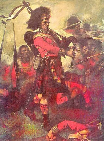 "A Cameron urging on the Highland Line at the Battle of Waterloo in 1815. He is playing the Piobaireachd ""War or Peace"". (Photo Courtesy: Wikimedia Commons)"