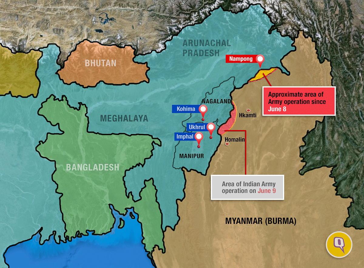 Map of the area showing army operations post June 4 militant attack in Manipur.