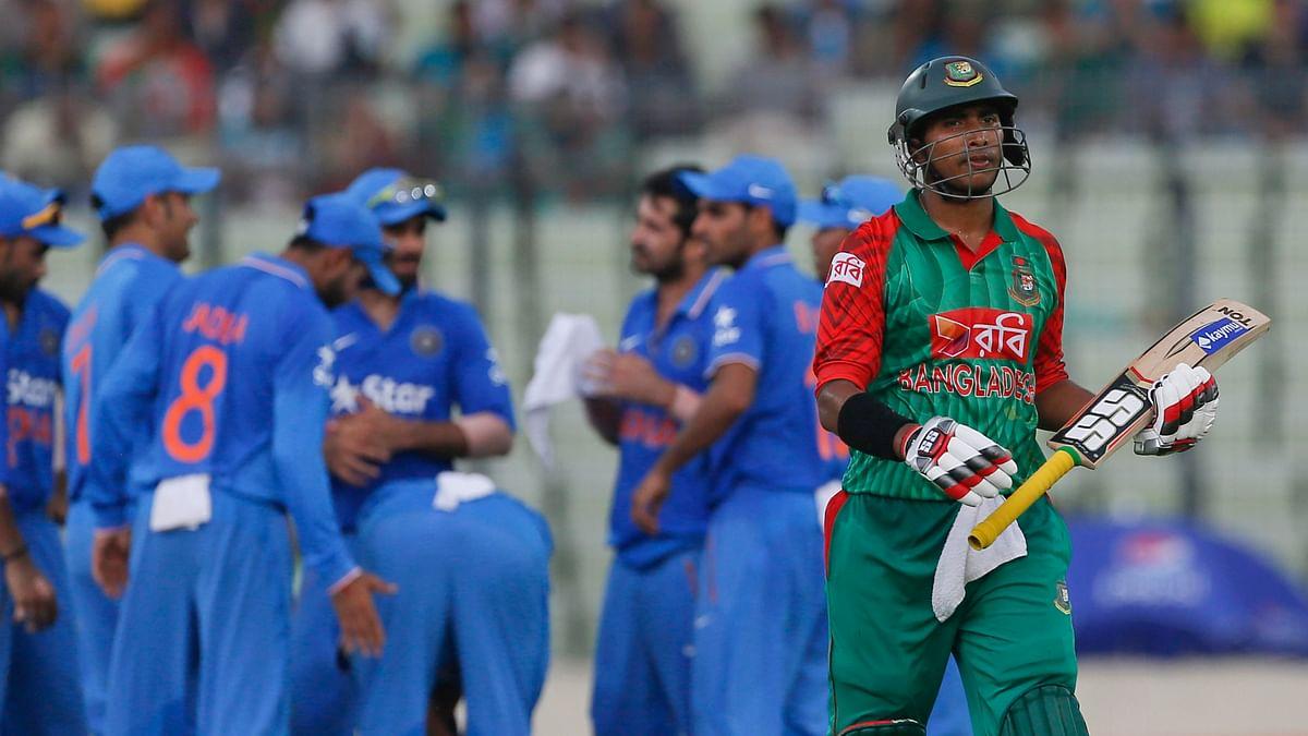 Bangladesh's Soumya Sarkar walks back after his dismissal by Suresh Raina during the first ODI in Dhaka. (Photo: AP)