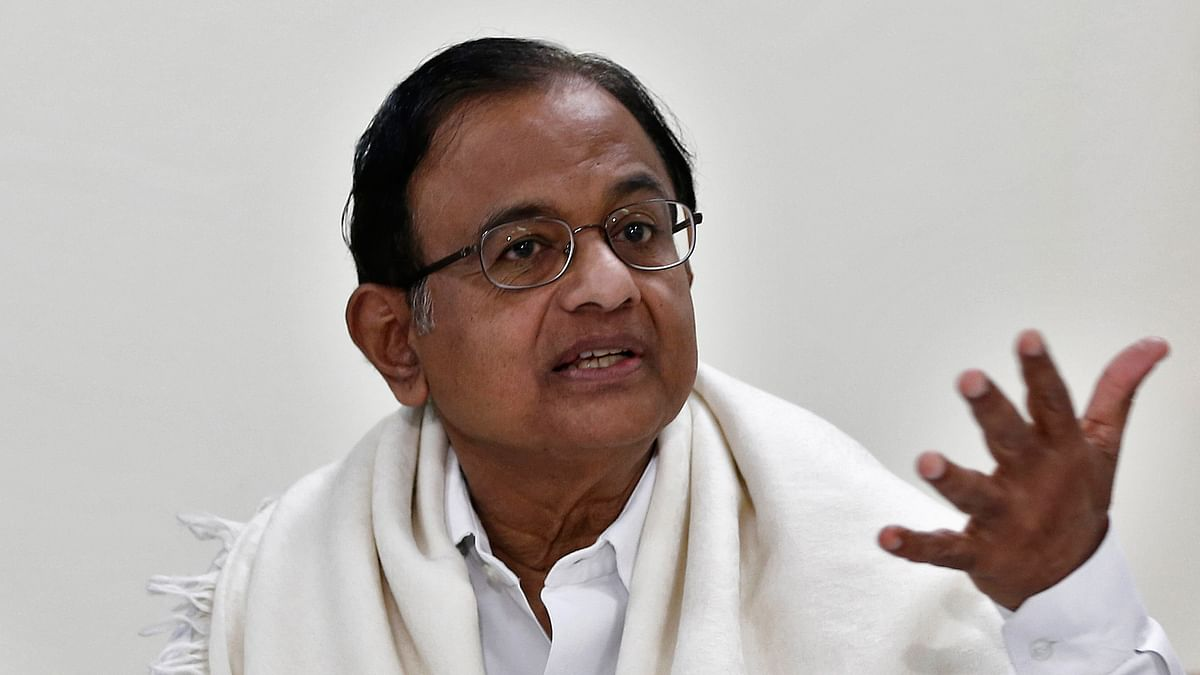 Former Finance Minister Palaniappan Chidambaram speaks during a news conference in New Delhi. (Photo: Reuters)