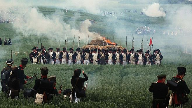 A reconstitution of the Battle of Waterloo. (Photo Courtesy: Wikimedia Commons)