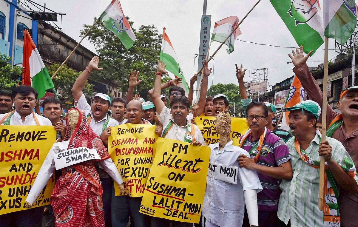 Congress activists at the protest. (Photo: PTI)