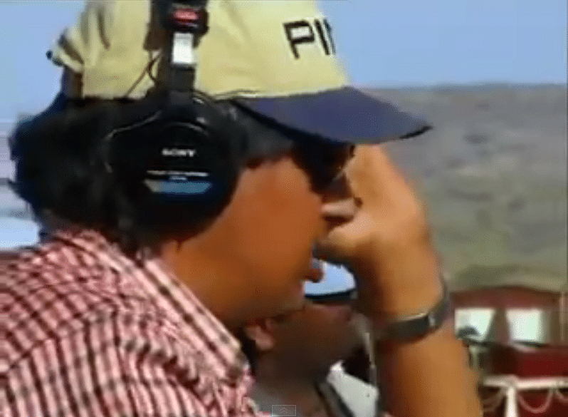 """The film's sound recordist is hard at work in this scene from the making of Lagaan (Photo: <a href=""""https://www.youtube.com/watch?v=ZY1zR4qUrc8"""">YouTube/Ideatingfreak</a>)"""