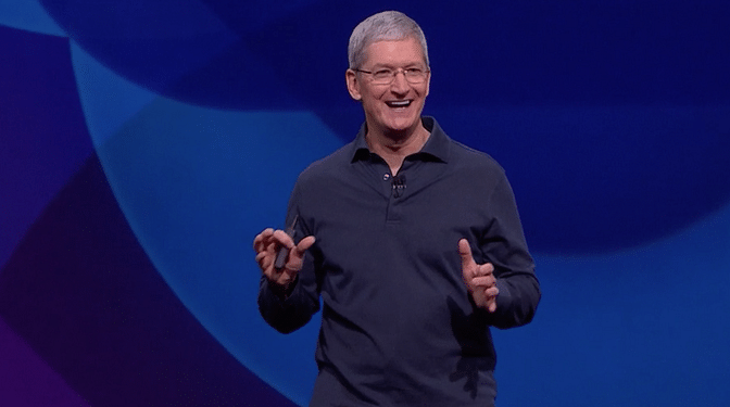 Tim Cook, CEO, Apple takes the stage at WWDC, 2015. (Photo: Apple)