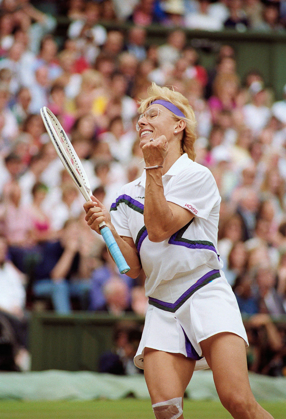 In this July 7, 1990 photo, Martina Navratilova is seen in action during the 1990 Wimbledon Final.&nbsp;Navratilova, a Czech-born left-hander who became a U.S. citizen in 1981, won 18 Grand Slam singles titles, including nine Wimbledon crowns between 1978 and 1990. (Photo: AP)<a></a>