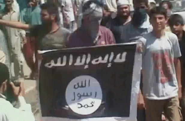 ISIS flag spotted in Jammu and Kashmir's Anantnag district. (Photo: ANI screengrab)