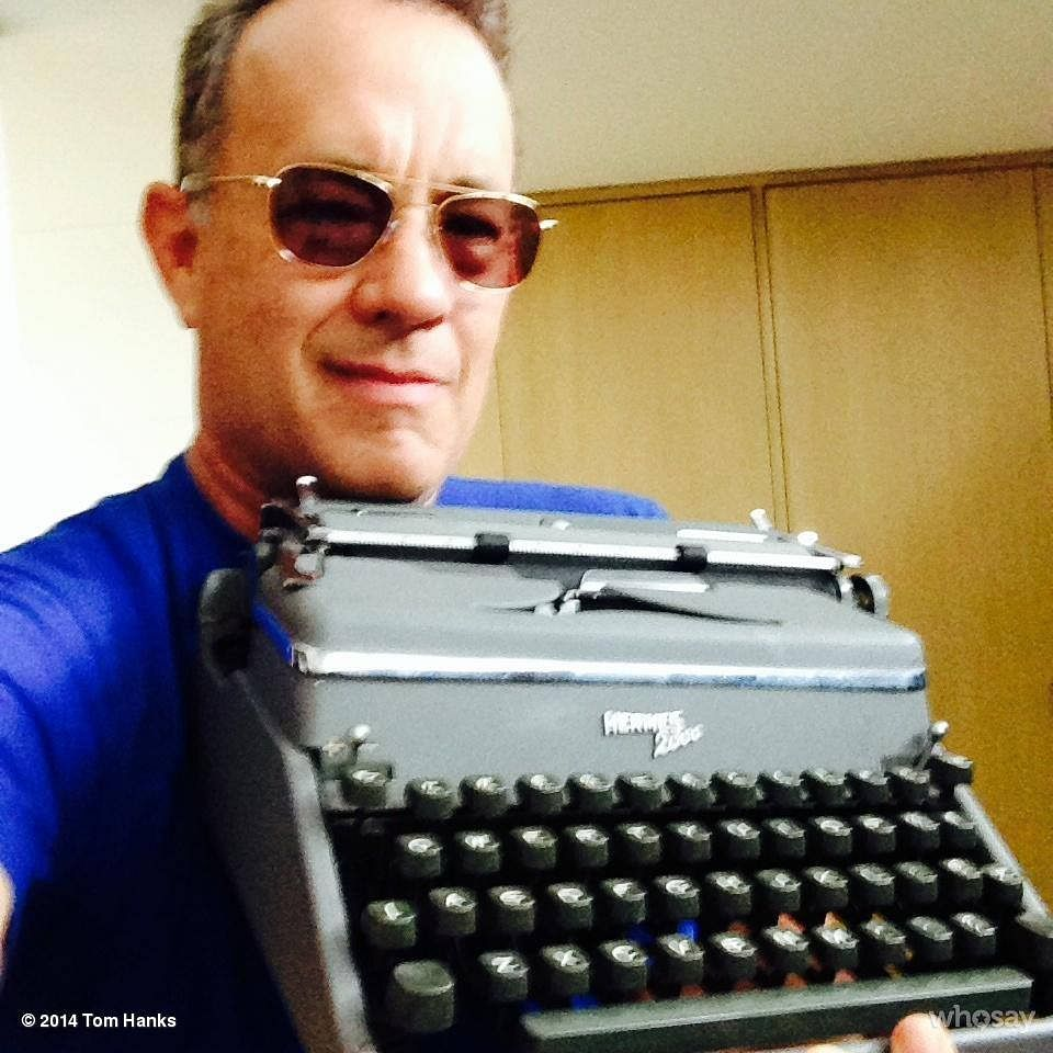 Tom Hanks makes no excuses for his enthusiastic love for typewriters, posting pictures aplenty on his Facebook page.