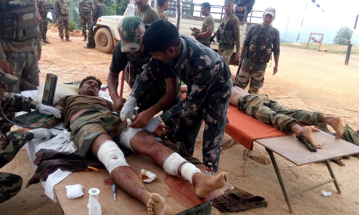 Indian Army Jawan being treated after the ambush in Manipur.