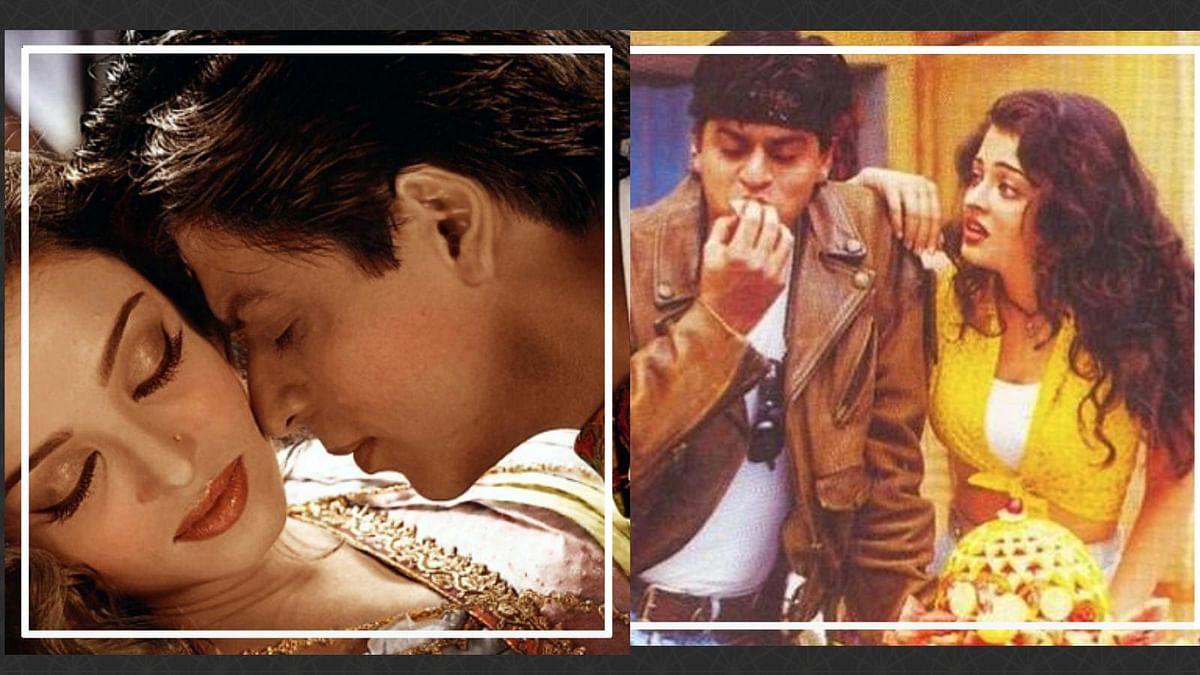 Aishwarya Rai and Shah Rukh Khan as lovers in a still from <i>Devdas</i>  and as siblings in <i>Josh </i>(R)