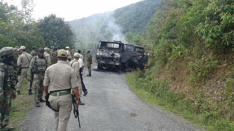 Army personnel in Manipur where a convoy of four trucks carrying 46 soldiers was ambushed by terrorists. (Photo: ANI)
