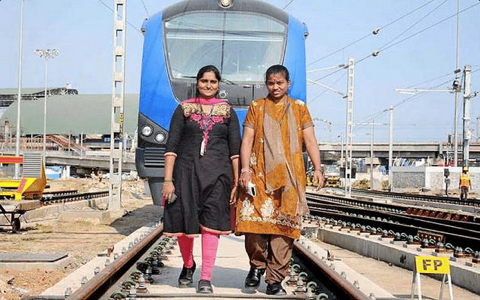 "A Preethi (right), the first driver of the Chennai metro train. (Photo: <a href=""https://twitter.com/itisprashanth/status/615450413131780096"">Twitter.com/@itisprashanth</a>)"