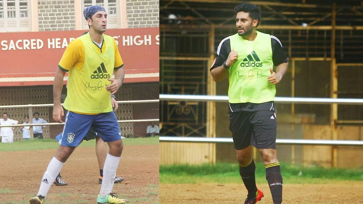 Ranbir Kapoor and Abhishek Bachchan spotted playing football at a practice match (Photo: Yogen Shah)