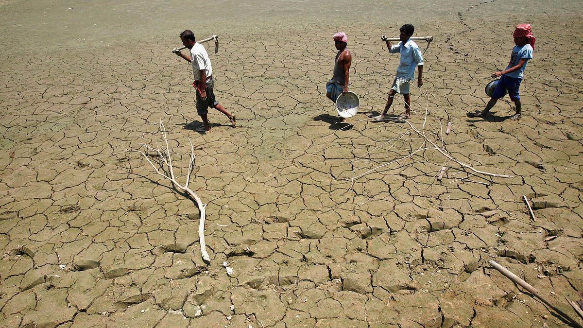 Parched lands of a dried lake. (Photo: Reuters)