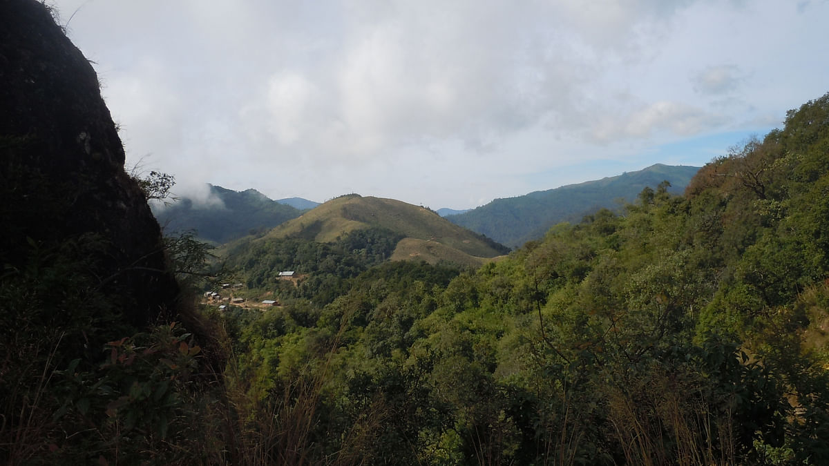 A view of the first Burmese village that comes to sight from the edge ofKotal Khunthak. (Photo: Maitreyee Handique)