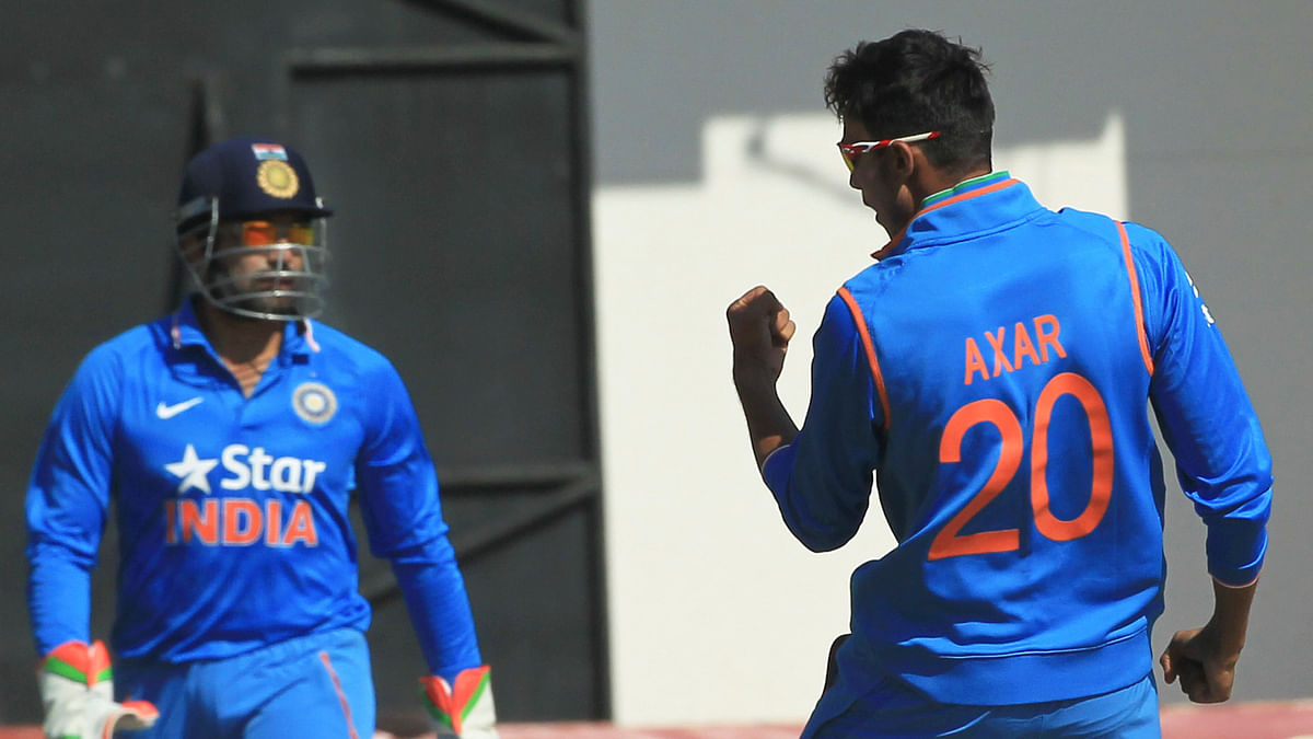 Axar Patel celebrates a wicket during India's tour of Zimbabwe in July 2015. (Photo: AP)