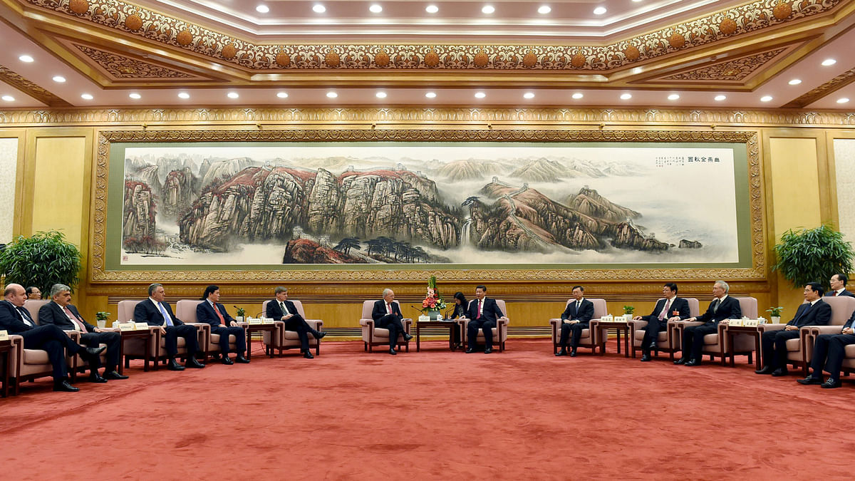 The AIIB Meet between Chinese President Xi Jinping and delegates from 50 countries at the Great Hall of the People in Beijing on June 29, 2015 (Courtesy: Reuters)