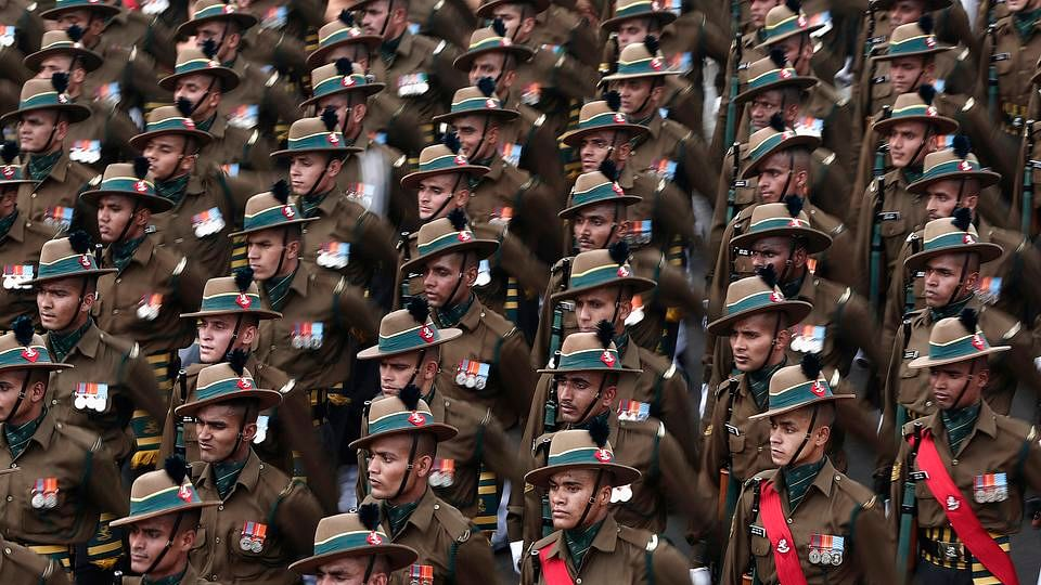 Indian Army dress rehearsal for Republic Day Parade. (Photo: Reuters)