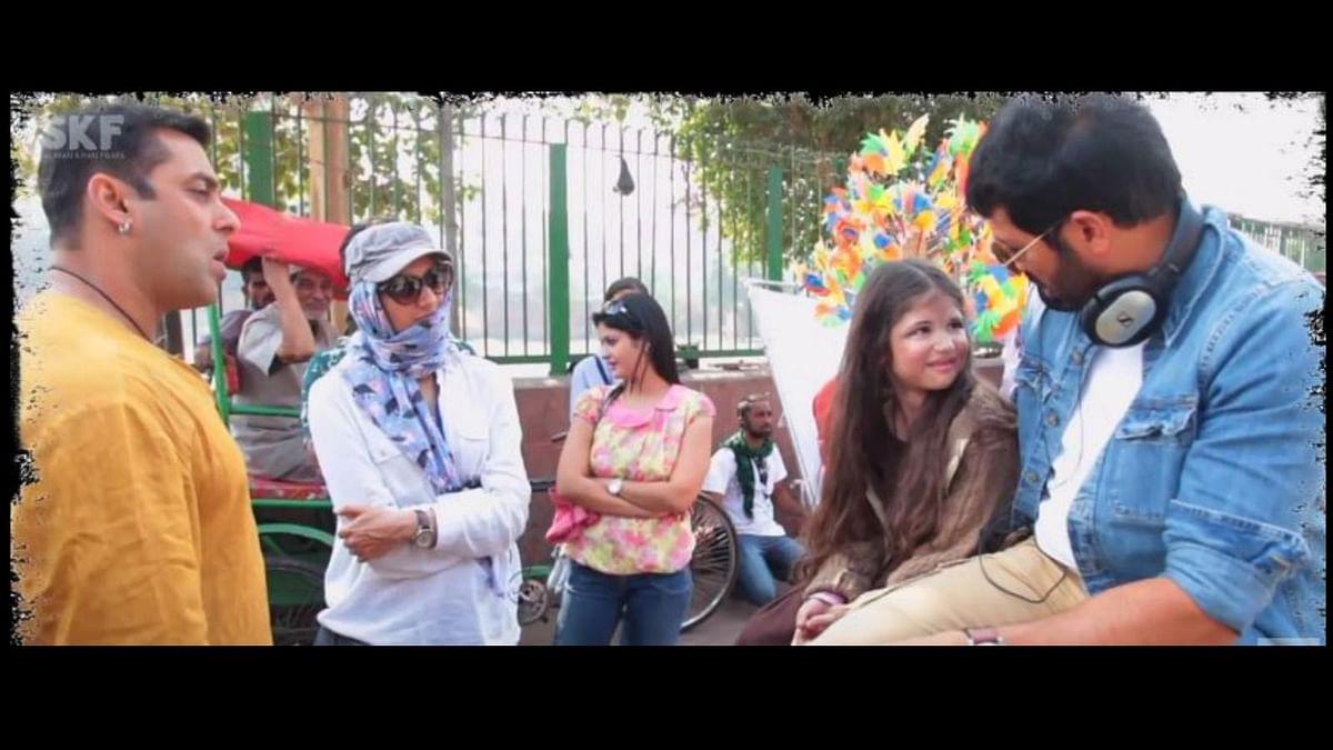 Little Harshaali with Salman and Kabir Khan