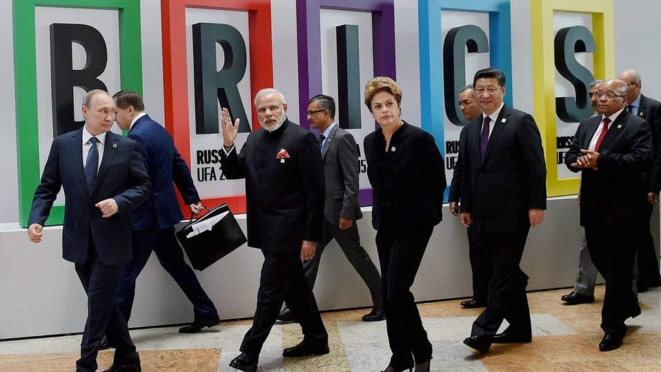 PM Narendra Modi with Russian President Vladimir Putin, Brazilian President Dilma Rousseff, Chinese President Xi Jinping and South African President Jacob Zuma after BRICS Summit Welcome Ceremony at UFA in Russia. (Photo: PTI)