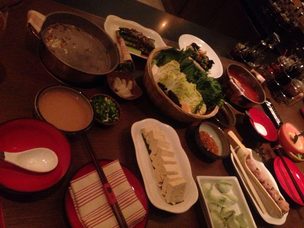 A vegetarian spread at a restaurant. (Photo: Veda Shastri)