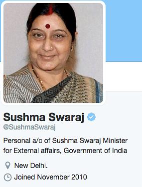 It's 'Personal': Sushma Swaraj's Twitter Account Bio Changes Again