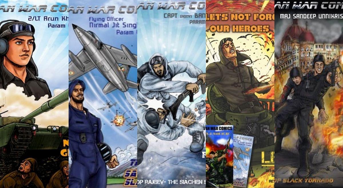Some of the comics in Aditya Bakshi's Indian War Comics series.