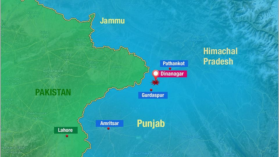 Map of Dinanagar area where the terror attack took place.