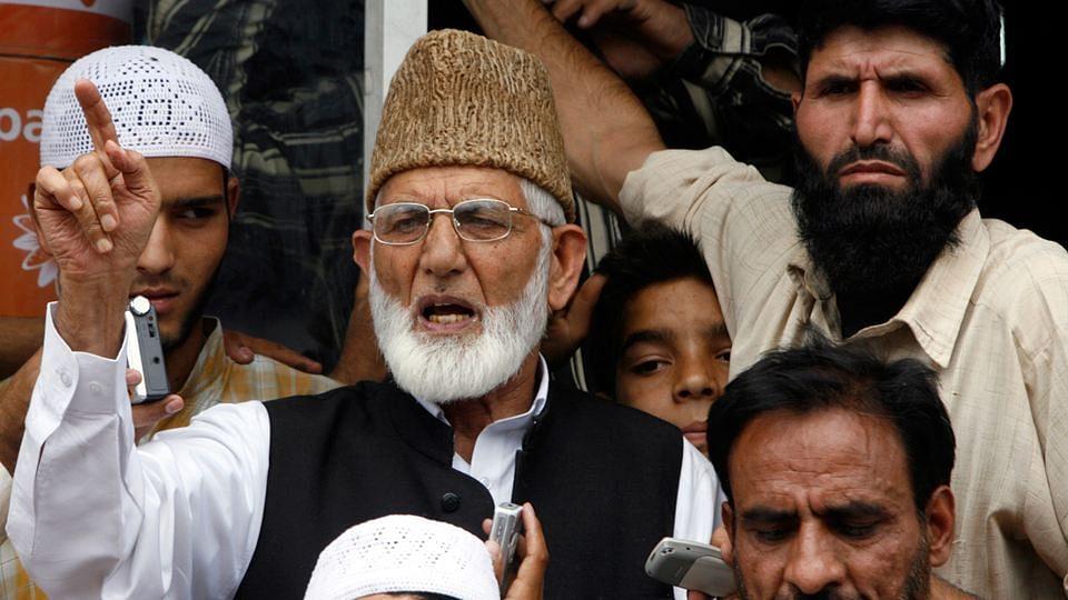 Syed Ali Shah Geelani (C) at a protest in Srinagar. (Photo: Reuters)