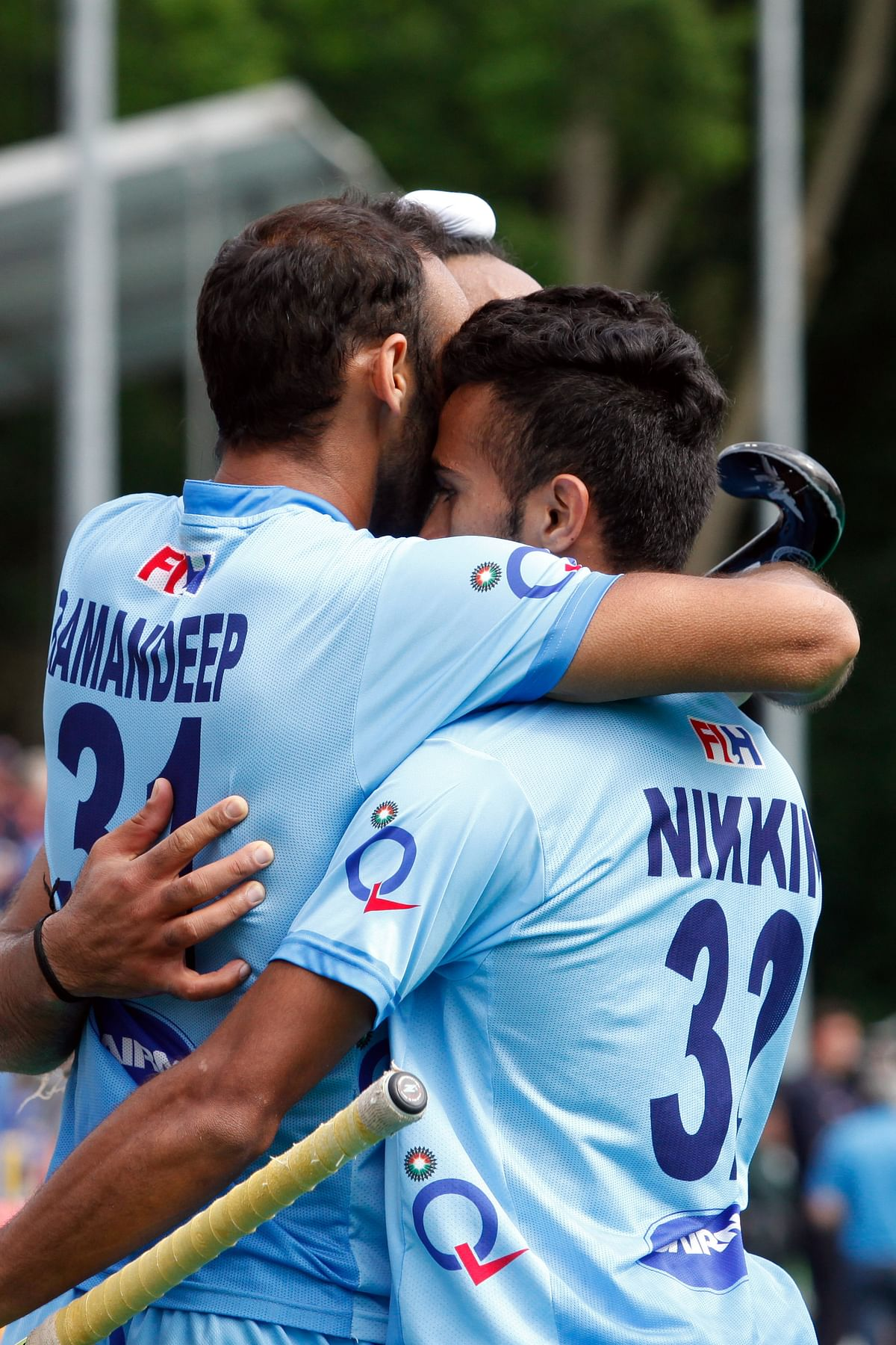 Members of the Indian hockey team celebrate after scoring a goal during the World League Semi-Finals in Antwerp earlier this month. (Photo: AP)