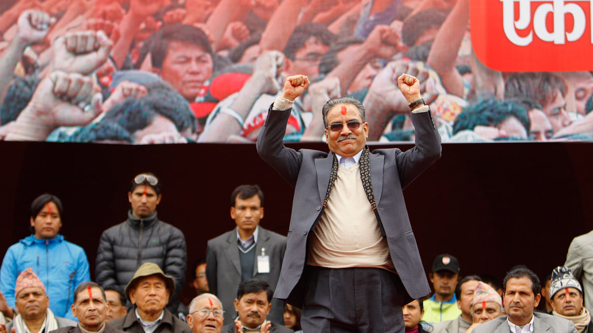 Chairman of UCPN-Maoist Prachanda  during a rally  in Kathmandu. (Photo: Reuters)