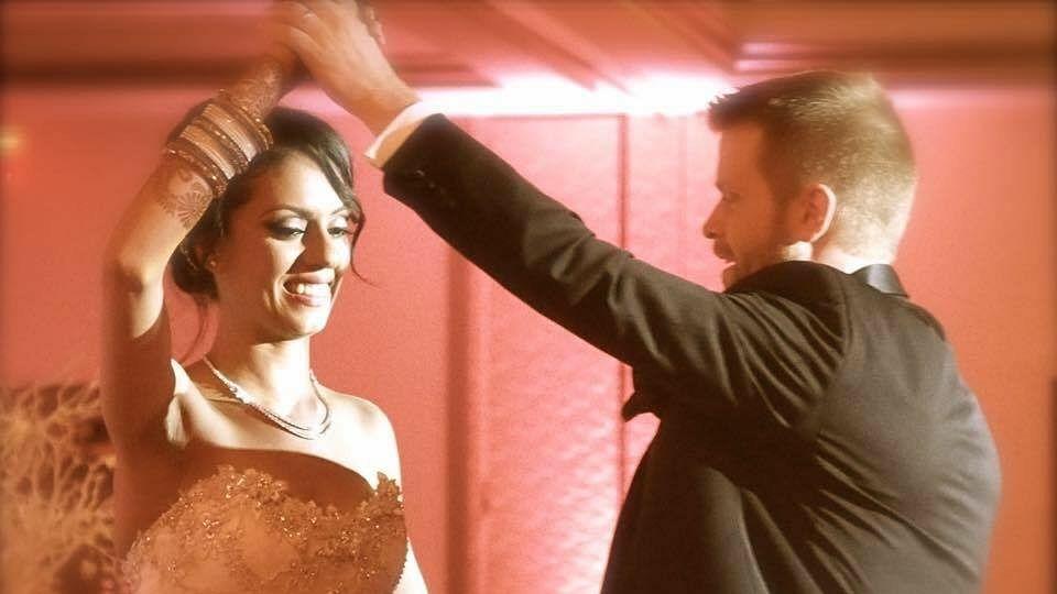 Simran Malhotra and Frank Gregoire on their wedding reception in a video that went viral. (Photo: Simran Malhotra)